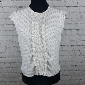 Zara Woman Polka Dot Ruffle Sleeves  Top